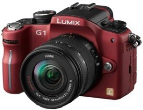 Panasonic Lumix DMC-G1 rot mit Objektiv Lumix G Vario 14-45mm OIS und 45-200mm OIS (DMC-G1W)