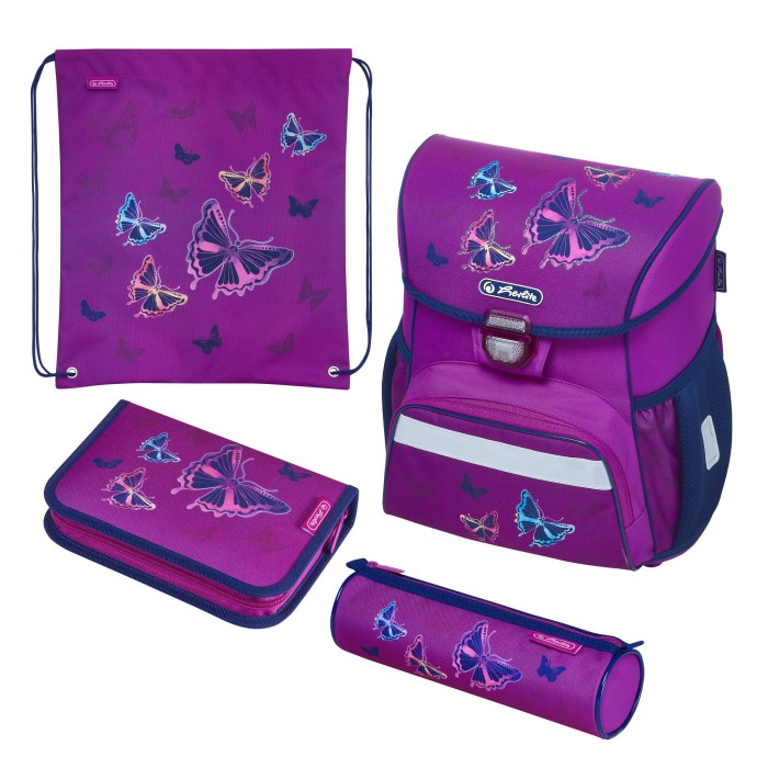 Herlitz Loop Plus Glitter Butterfly Schultaschen-Set 4-tlg. (50020485)