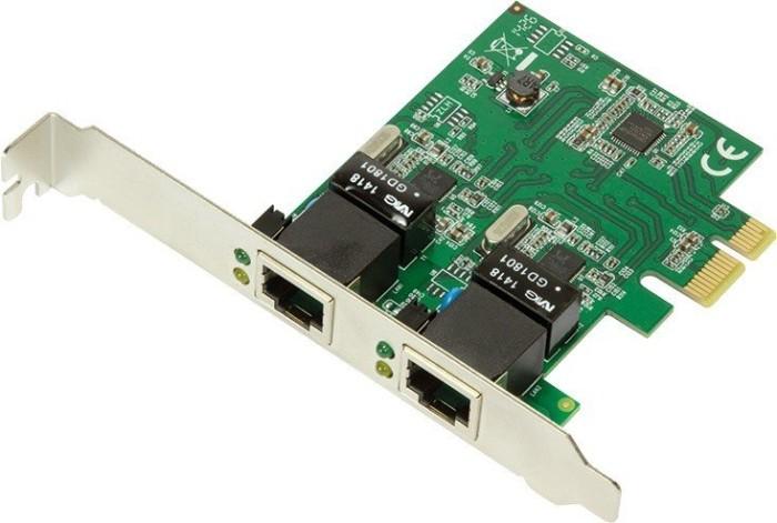 LogiLink PC0075, 2x RJ-45, PCIe 2.0 x1
