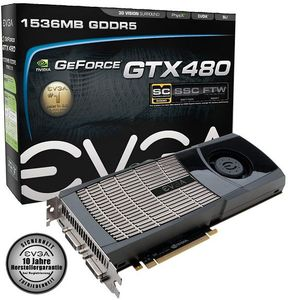 EVGA GeForce GTX 480 Superclocked, 1.5GB GDDR5, 2x DVI, mini HDMI (015-P3-1482)