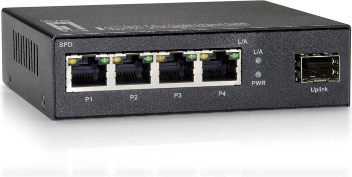 Level One GEU Desktop Gigabit Switch, 4x RJ-45, 1x SFP (GEU-0521/530157)
