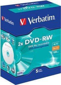 Verbatim DVD-RW 4.7GB 2x, sztuk 5 Videobox (43196)