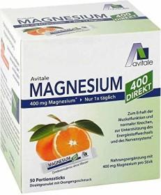 Avitale Magnesium 400 Direkt Pulver Portionsbeutel, 50 Stück