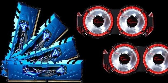 G.Skill RipJaws 4 blue + Turbulence DIMM kit 16GB, DDR4-3400, CL16-18-18-38 (F4-3400C16Q-16GRBD)