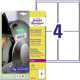 Avery Zweckform Folien-Etiketten ultra-resistent weiß 99x139 40 Stück Drucker
