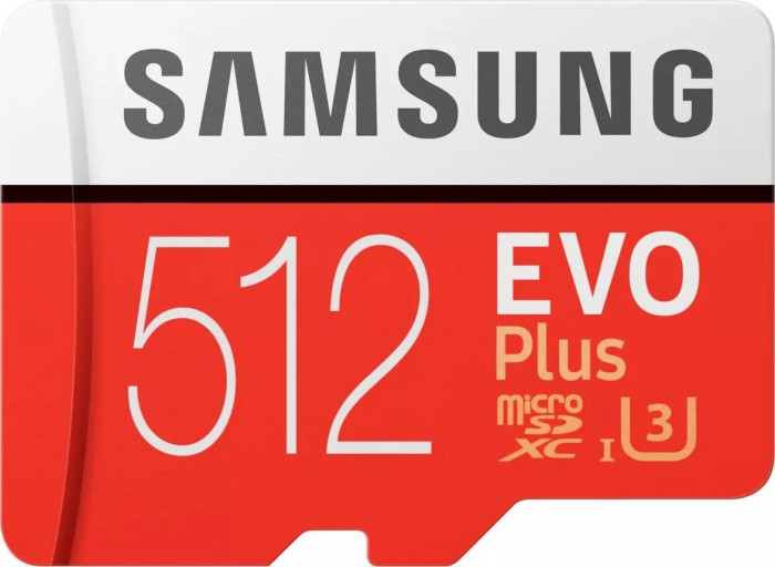 Samsung R100/W90 microSDXC EVO Plus [2017] 512GB Kit, UHS-I U3, Class 10 (MB-MC512GA/EU) -- via Amazon Partnerprogramm