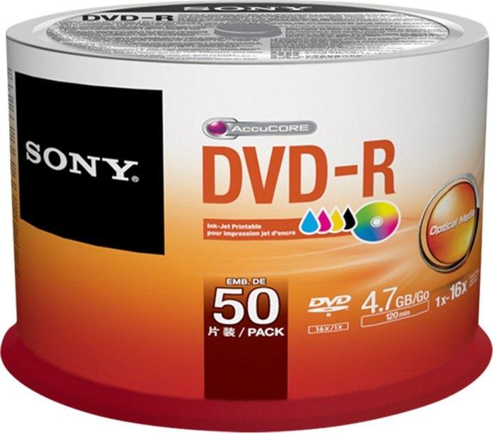 Sony DVD-R 4.7GB 16x printable, 50-pack Spindle (50DMR47PP)