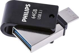 Philips USB-Flashlaufwerk mit Zweifach-Stecker 64GB, USB-A 3.0/USB-C 3.0 (FM64DC152B/00)