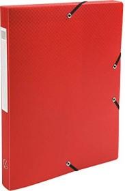 Exacompta Archivbox aus Kunststoff A4, blickdicht, 25mm, rot, 4er-Pack (59605E)