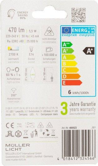 10 x Müller Licht 400023 LED Kerzenform 5,5W E14 470lm 180° 2700K matt 40W