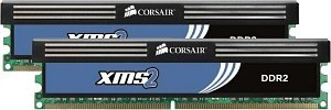Corsair XMS2 DIMM Kit   4GB, DDR2-800, CL5-5-5-18 (TWIN2X4096-6400C5C)