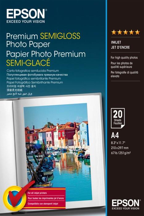 Epson Premium Fotopapier Semigloss, A4, 251g/m², 20 Blatt (S041332)