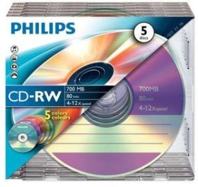Philips CD-RW 80min/700MB, 5er-Pack (CW7D2CC05)