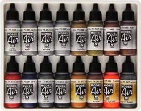 "Vallejo Model Air ""Metallic Colors"" Farbset, 16-tlg. (71.181)"