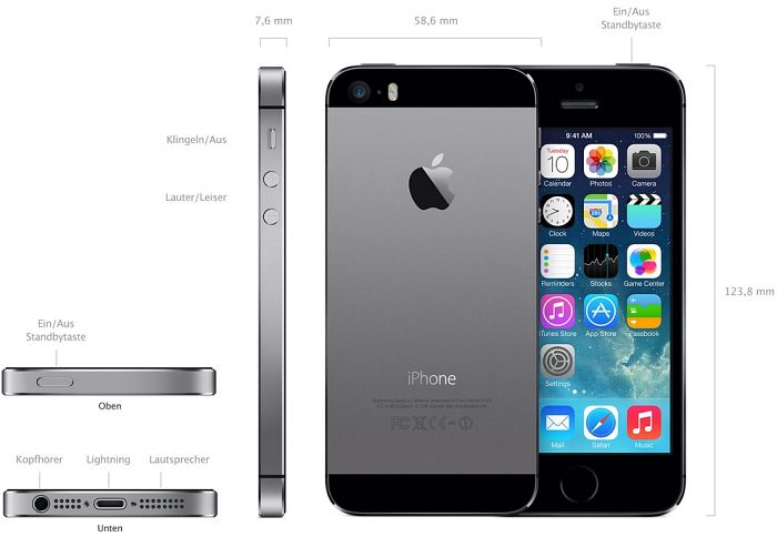 produktbilder apple iphone 5s 64gb wei silber. Black Bedroom Furniture Sets. Home Design Ideas