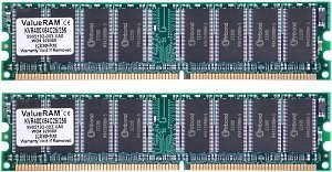 Kingston ValueRAM DIMM Kit 1GB, DDR-400, CL3-3-3 (KVR400X64C3AK2/1G)