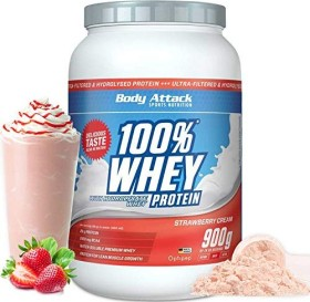 Body Attack 100% Whey Protein Strawberry Cream 900g (4250350518410)