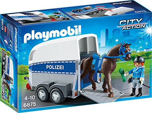 playmobil city action berittene polizei mit anh nger ab. Black Bedroom Furniture Sets. Home Design Ideas