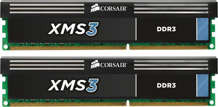 Corsair XMS3 DIMM Kit   8GB, DDR3-1600, CL9-9-9-24 (CMX8GX3M2A1600C9)