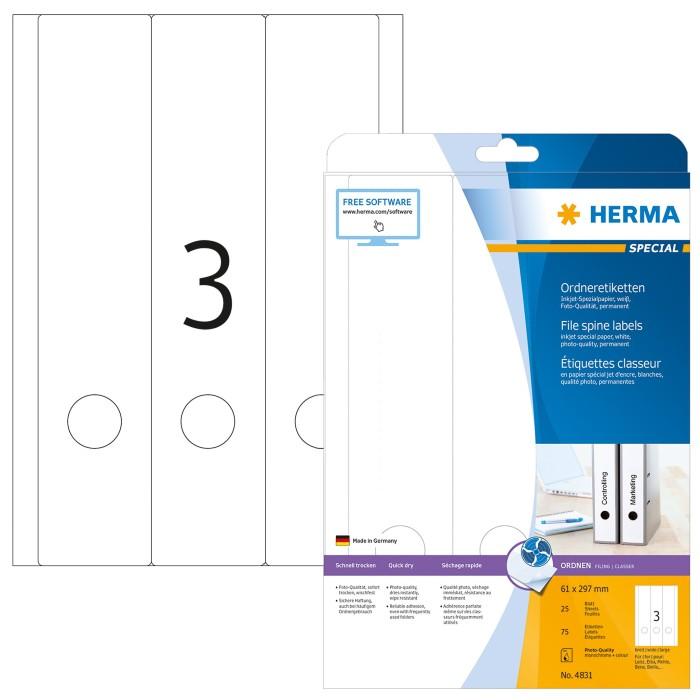 HERMA 4831 Inkjet Ordneretiketten A4 61x297mm 75 Stück selbstklebend matt weiß
