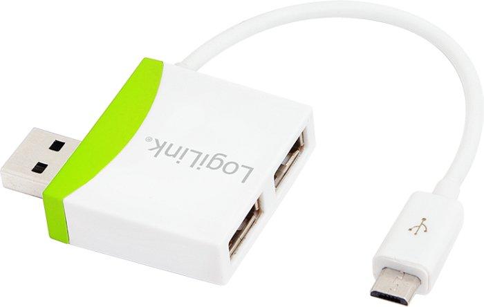 LogiLink green USB hub, 2x USB-A 2.0, USB 2.0 micro-B [plug] (UA0180)