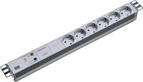 "Bachmann 19"" IT PDU Basic, grey, 6-way, overvoltage protection, mains filter, 1U, 2m (333.402)"