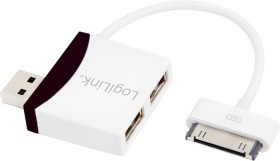 LogiLink black USB hub, 2x USB-A 2.0, USB 2.0 micro-B [plug] (UA0181)