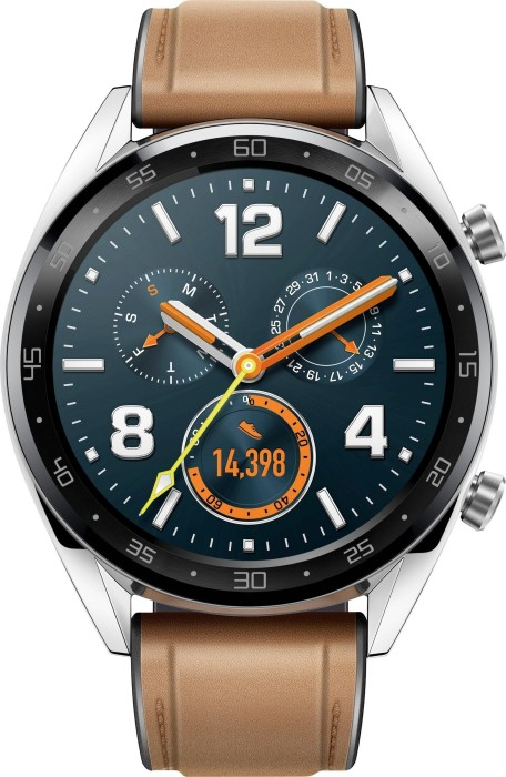Huawei Watch GT silver with leather bracelet brown (55023253/55023257)