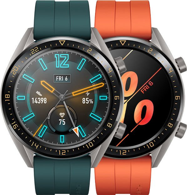 Huawei Watch GT Active grau mit Silikonarmband grün (55023721/55023801)