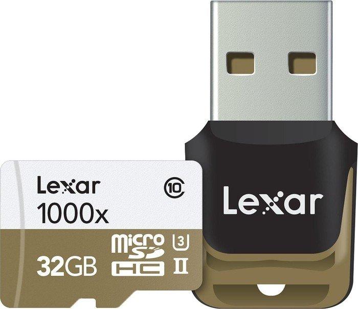 Lexar Professional 1000x R150/W30 microSDHC 32GB Kit, UHS-II U3, Class 10 (LSDMI32GCBEU1000R)