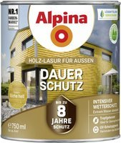 Alpina Farben Dauer-Schutz Holz-Lasur außen Holzschutzmittel eiche hell, 750ml