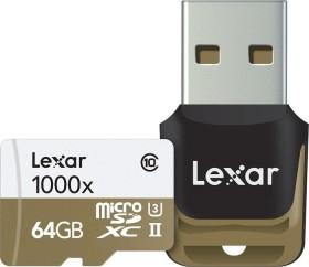 Lexar Professional 1000x R150/W45 microSDXC 64GB Kit, UHS-II U3, Class 10 (LSDMI64GCBEU1000R)