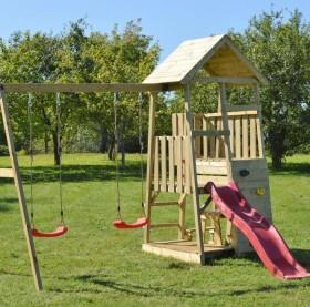 Wendi Toys Spielturm Flamingo mit Rutsche, Schaukel und Kletterwand (WTJ10)