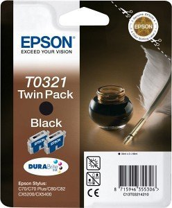 Epson T0321 Ink black, 2-pack (C13T03214210)