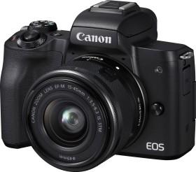 Canon EOS M50 schwarz mit Objektiv EF-M 15-45mm IS STM und EF 50mm STM (2680C061)