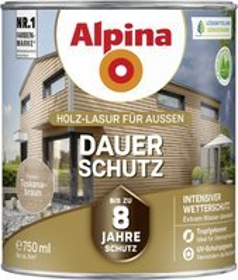 Alpina Farben Dauer-Schutz Holz-Lasur außen Holzschutzmittel toskanabraun, 750ml