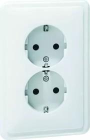 Peha Standard SCHUKO Steckdose 2fach für 1 1/2fach Dose, reinweiß (H 80.6412.02 SI)