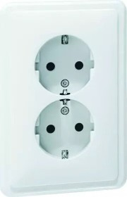 Peha Standard SCHUKO Steckdose 2fach für 1 1/2fach Dose, reinweiß (H 80.6412.02)