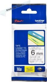 Brother TZe-111 6mm, schwarz/transparent (TZE111)