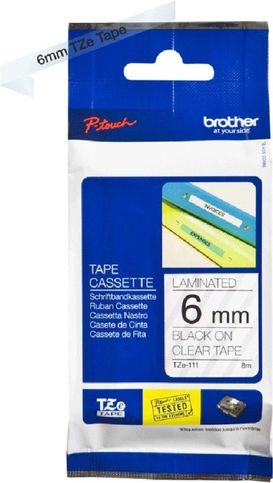 Brother TZ-111/TZe-111  6mm schwarz/transparent