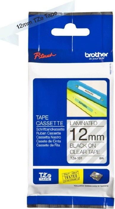 Brother TZ-131/TZe-131  12mm schwarz/transparent, 8m