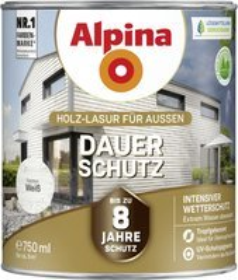 Alpina Farben Dauer-Schutz Holz-Lasur außen Holzschutzmittel weiß, 750ml