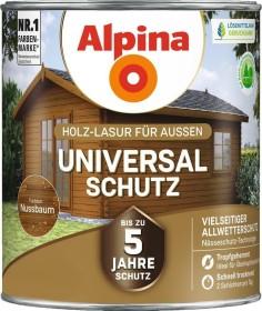 Alpina Farben Universal-Schutz Holz-Lasur außen Holzschutzmittel nussbaum, 2.5l